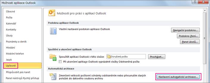 Vyberte Upřesnit a potom zvolte nastavení automatické archivace.