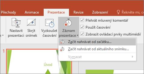 Tlačítko Spustit záznam v PowerPointu