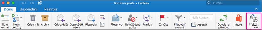 Příkaz přeložit v Outlooku for Mac pásu karet