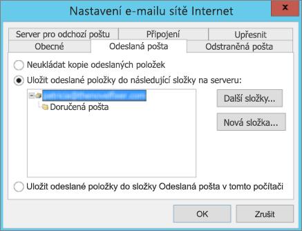 Výběr složky na kartě Odeslaná pošta
