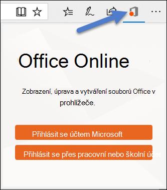 Dialogové okno přihlášení pro rozšíření Office Online v okraje