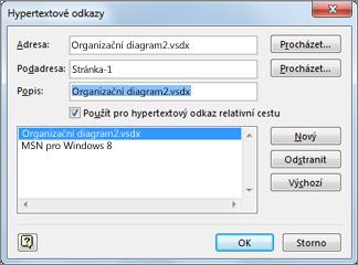 Dialogové okno Upravit hypertextové odkazy