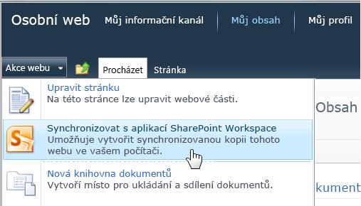 Příkaz Synchronizovat s aplikací SharePoint Workspace v nabídce Akce webu