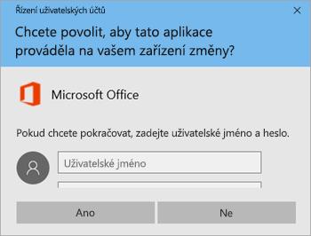 Snímek obrazovky zobrazující okno Řízení uživatelských účtů