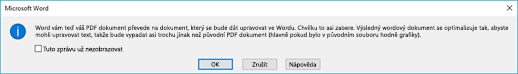 Word confirms that it will attempt to reflow the PDF file you opened.