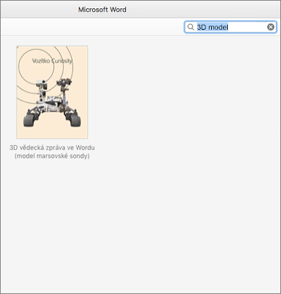 Vyhledání šablon 3D modelů ve Wordu pro Mac