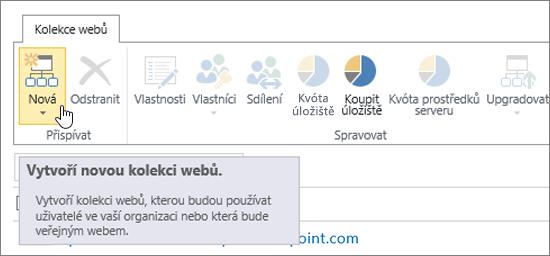 Stránka Kolekce webů s výběrem možnosti Nový