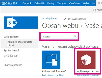 Hledání aplikace pro Access ze stránky Přidat aplikaci v SharePointu