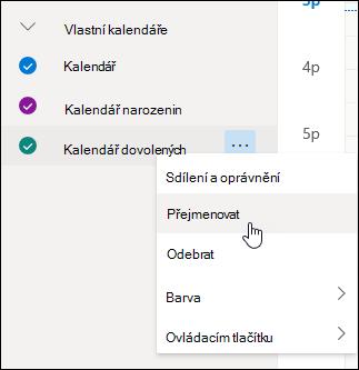 Snímek obrazovky s místní nabídku kalendář