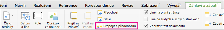 Kliknutím na Propojit s předchozím nastavíte, jestli bude záhlaví nebo zápatí propojené se záhlavím nebo zápatím předchozího oddílu.