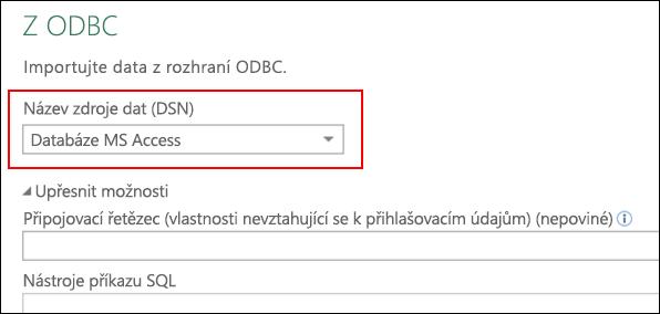 Power Query – Konektor rozhraní ODBC – podpora pro výběr názvů DSN uživatele/systému