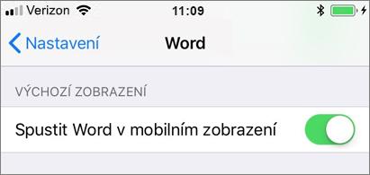 Vybrané nastavení Spustit Word v mobilním zobrazení
