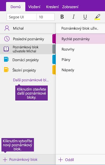 Snímek obrazovky, který ukazuje, jak vytvořit nový poznámkový blok OneNotu