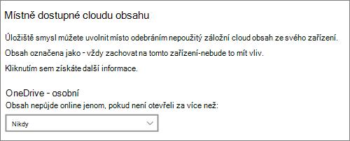 Rozevírací seznam Úložiště ve Windows 10, ve které můžete vybrat, kdy chcete soubory OneDrivu vytvořit jenom online