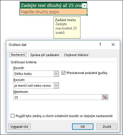 Příklad ověření dat s omezenou délkou textu