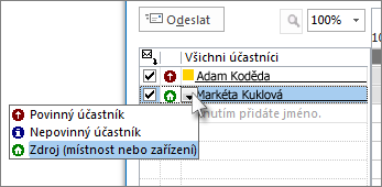 Kliknutí na ikonu vlevo od jména a následné kliknutí na Zdroj
