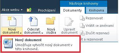 Přidání nového dokumentu do knihovny dokumentů