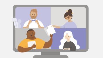 Obrázek s počítačem a čtyřmi lidmi, kteří komunikují na obrazovce