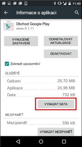 Tlačítko Vymazat data