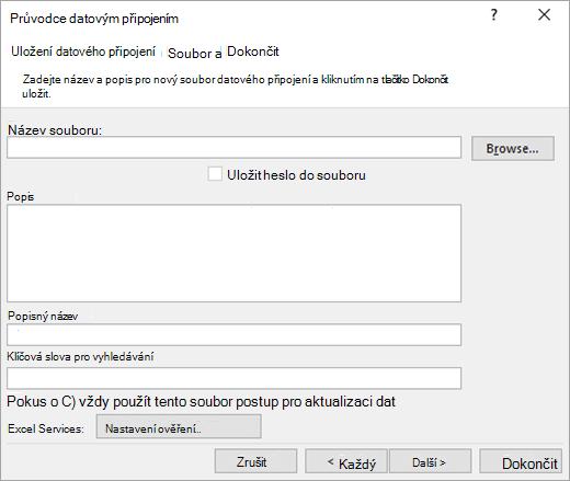 Obrazovka Průvodce datovým připojením 3