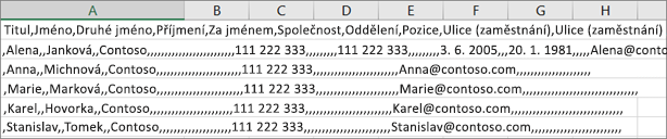 Příklad souboru .csv uložené ve formátu .xls.