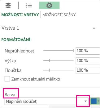 Seznam datové řady v rozevíracím seznamu Barva