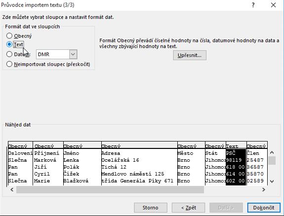 V Průvodci importem textu je pro Formát dat ve sloupcích zvýrazněná možnost Text.