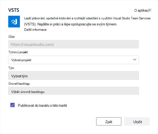 Dialogové okno Visual Studio přidáte kanbanu na kartu