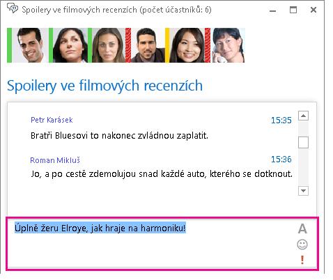 Snímek obrazovky okna chatovací místnosti se zprávou se změněným písmem apřidanou emotikonou