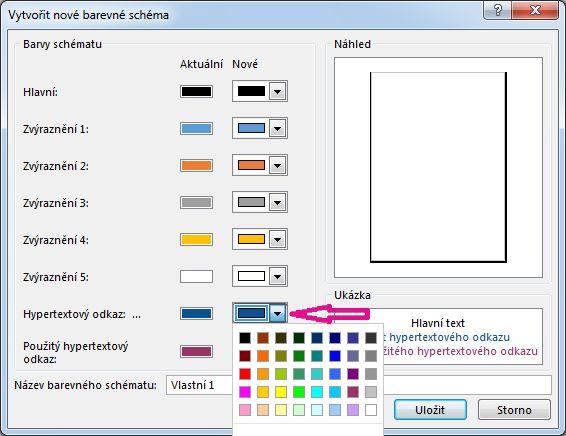 Změna barev hypertextových odkazů vytvořením nového barevného schématu