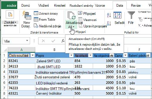 Tabulka aplikace Excel s importovaný seznam a zvýrazněným tlačítkem Aktualizovat vše.