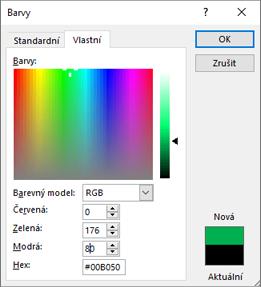 Zobrazuje vlastní barvy.