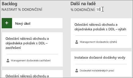 Snímek obrazovky s panelem úkolů a kurzorem při zadávání 50 % dokončení