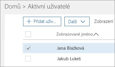Výběr uživatele, kterého chcete zablokovat