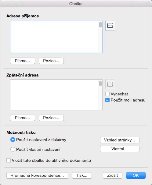 Zadejte adresy a nakonfigurujte styly a možnosti v dialogovém okně obálky.