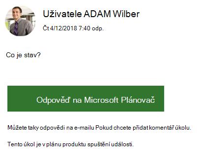 Snímek obrazovky: S Příkladem e-mailové zprávy skupiny se může zobrazit.