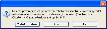 Dialogové okno, které ukazuje, že se dokument s omezenými oprávněními přeposlal neoprávněné osobě