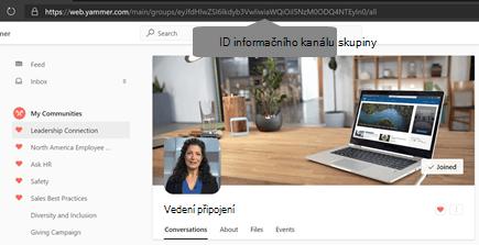 ID informačního kanálu komunity Yammeru