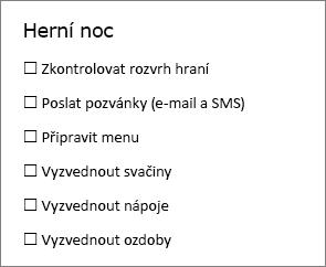 Můžete vytvořit kontrolní seznam, který můžete vytisknout nebo pomocí online tlačítko ovládací prvek obsahu zaškrtávacího políčka na kartě Vývojář ve Wordu.