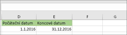 Počáteční datum v buňce D53 je 1/1/2016, koncové datum je v buňce E53 je 12/31/2016.