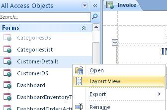 Otevřete webový formulář nebo sestavu v zobrazení rozložení