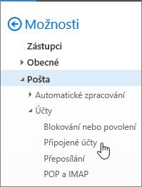 Snímek obrazovky s nabídkou Možnosti pošty znázorňující Připojené účty v části Účty