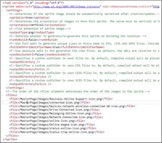 Snímek obrazovky se souborem XML spritů