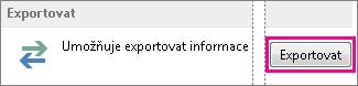 Upřesňující možnosti v Outlooku – Exportovat