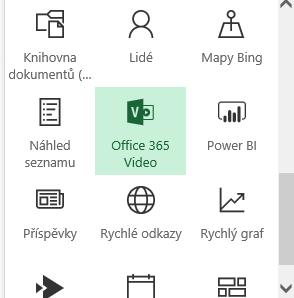 Snímek obrazovky s tlačítkem nabídky videa Office 365 na SharePointu