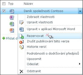 Rozevírací seznam pro soubor aplikace Word, který je vybrán v seznamu služby SharePoint. Možnost Rezervovat je zvýrazněna.
