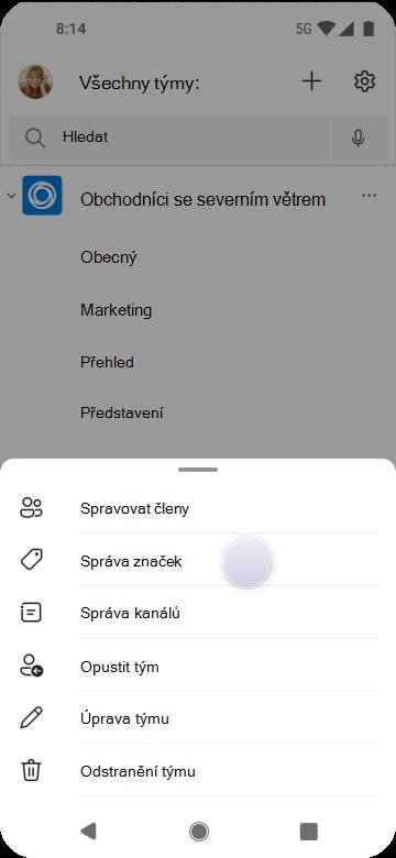 Správa značek v Teams pomocí Androidu