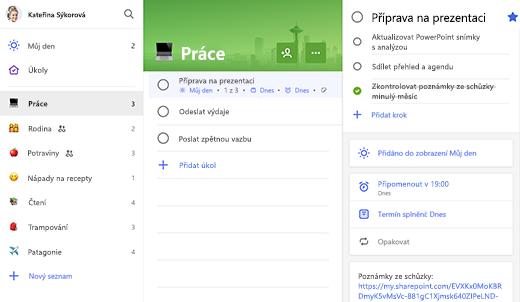 Snímek obrazovky se seznamem Práce a přípravou na prezentaci otevřenou v zobrazení podrobností