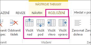 Obrázek možností rozložení pro přidávání řádků a sloupců do tabulek