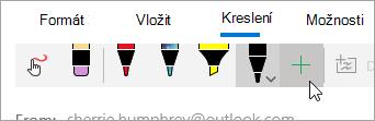 Snímek obrazovky s tlačítkem Přidat pera